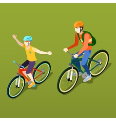 Isometric people isometric bicycle father and son vector