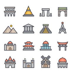 Landmark Icon Bold Stroke with Color vector image vector image