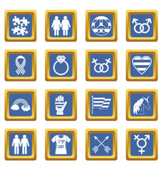 Lgbt icons set blue vector