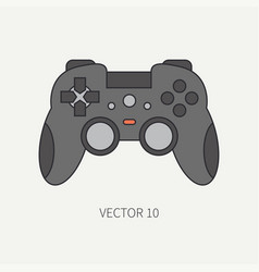 Line flat color computer part icon joystick vector