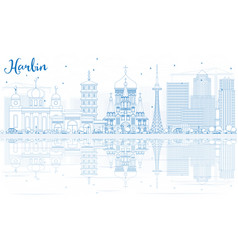 outline harbin skyline with blue buildings vector image