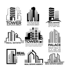 Residential buildings houses icons for real vector