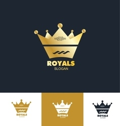 Royal king crown logo icon set vector