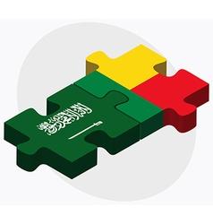 Saudi arabia and benin flags vector