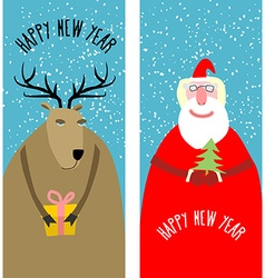 Set greeting Christmas cards Santa Claus with vector image vector image