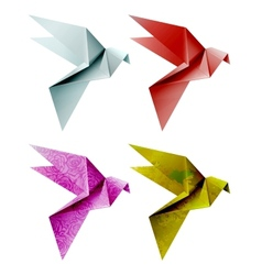 Set of colorful origami bird EPS 10 vector image vector image
