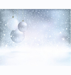Silver blue Christmas background with vector image vector image