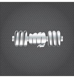 Silver hand holding barbell design template vector