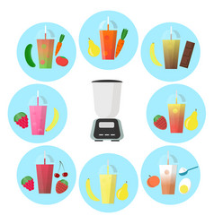 Smoothie to go with different fruits and shaker vector