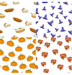 Thanksgiving day symbols seamless patterns set vector