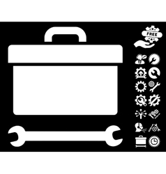 Toolbox icon with tools bonus vector