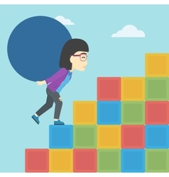 Woman carrying concrete ball uphill vector