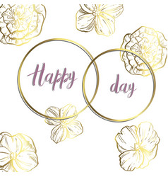 Decorative card with two rings and flowers gold vector