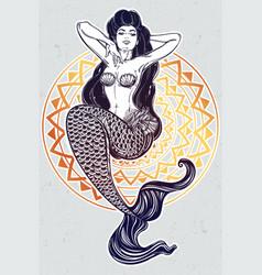 Beautiful mermaid girl with fairytale hair art vector