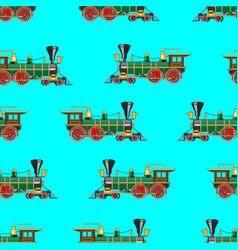 bright cartoon steam locomotive seamless vector image
