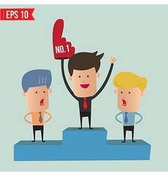 Business man on winner podium - - eps10 vector