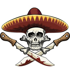 Skull with machete vector