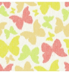 Seamless pattern with textile butterflies knitted vector