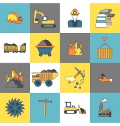 Coal industry icons flat line vector