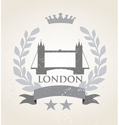 Grunge london icon laurel weath vector
