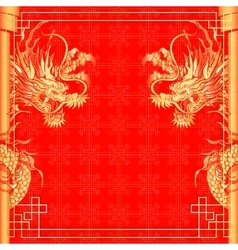 Frame red dragon gold-colored sticker 2 vector