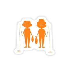 Icon sticker realistic design on paper fishing vector