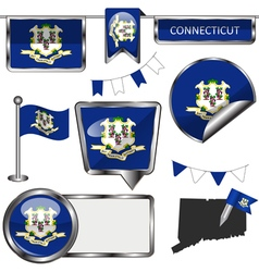 Glossy icons with connecticuter flag vector