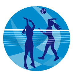 Volleyball player spiking hitting ball vector