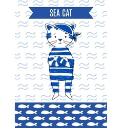 Card cute retro pirate cat sea vector
