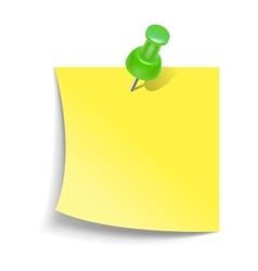 Note paper with push pin icon realistic style vector