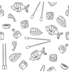 Sushi and rolls seamless pattern hand drawn sketch vector