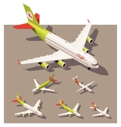 Isometric low poly airplanes set vector