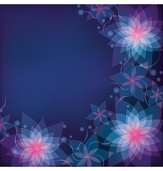 Abstract blue purple floral background with vector image vector image