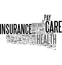 Basic types of health insurance text word cloud vector