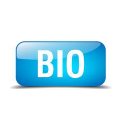 Bio blue square 3d realistic isolated web button vector