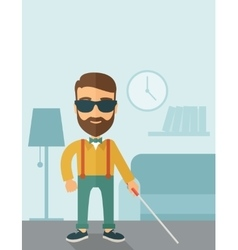 Blind man with walking stick vector image