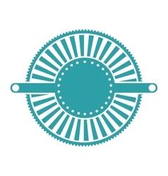 Blue label abstract art deco emblem vector