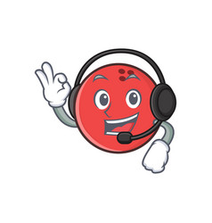 Bowling ball character cartoon with headphone vector