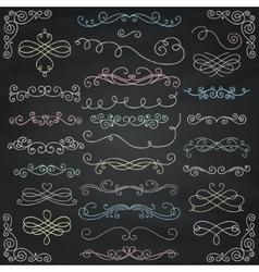 Chalk drawing vintage hand drawn swirls vector