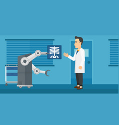 Doctor examining radiograph with help of robot vector