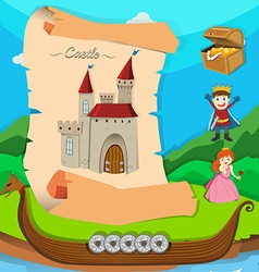 Fairytale theme with castle and characters vector image