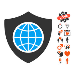 Global shield icon with dating bonus vector