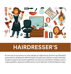Hairdresser beauty salon flat poster woman vector