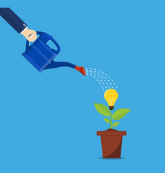 hand of business person watering idea tree vector image vector image
