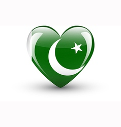 Heart-shaped icon with national flag of Pakistan vector image vector image