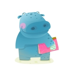 Hippopotamus kid with book study reading vector