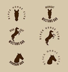 Hipster logotype with silhouette of horse vector image