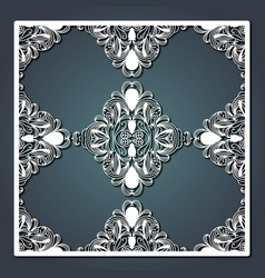 laser cutting decorative floral panel in steel vector image