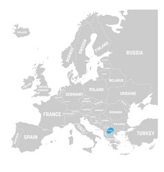 macedonia marked by blue in grey political map of vector image vector image