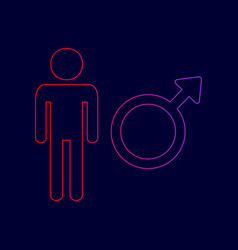 Male sign line icon with vector